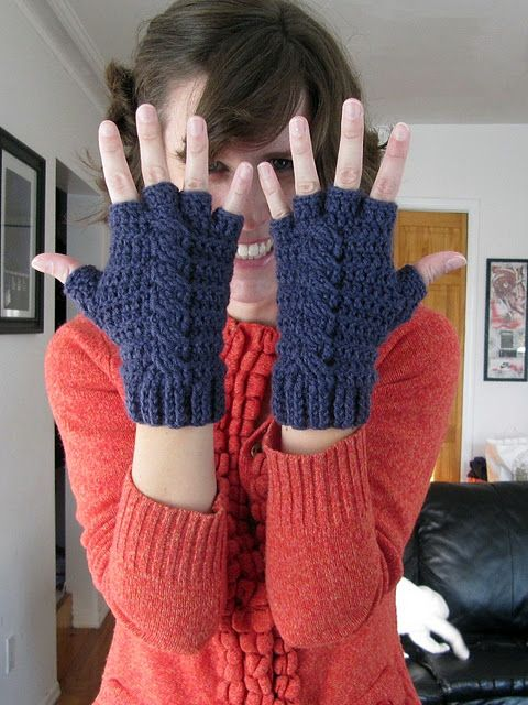 Sweet fingerless gloves for crocheters. It is nice to see some decent crochet cables exist in the world.