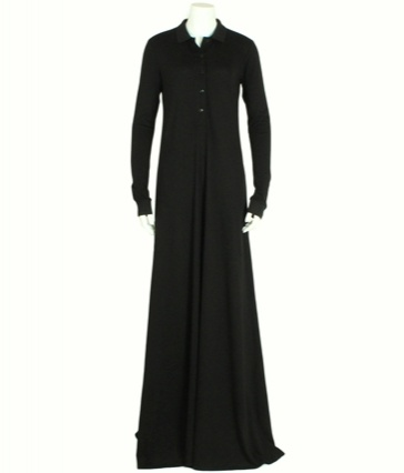 Fabulous Classic Polo Black Abaya by Aab,  This style is a simple and chic  summer outfit. Its perfect for the everyday chic look x