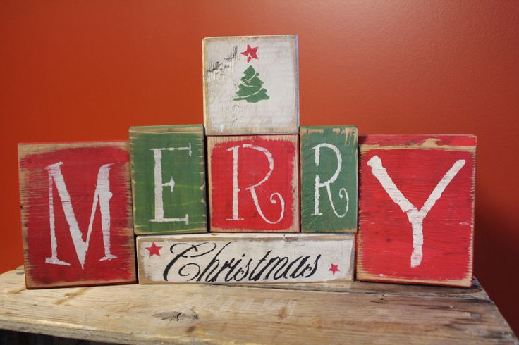 Merry Christmas w/ tree blocks made by: The Primitive Shed