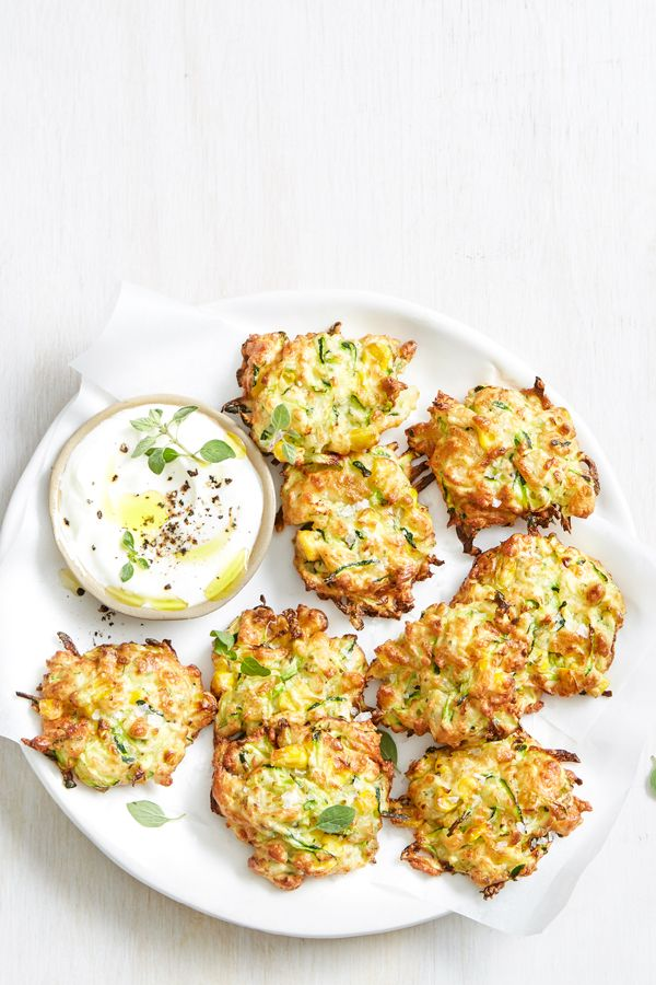 Air Fryer Zucchini Corn And Haloumi Fritters In 2020 Fritters Easy Lunch Recipes Easy Dinner Recipes