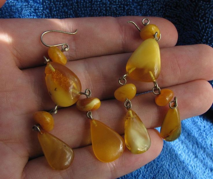 Natural Baltic amber 8 gr earrings yolk yellow white  琥珀 USSR jewelry gemstone…