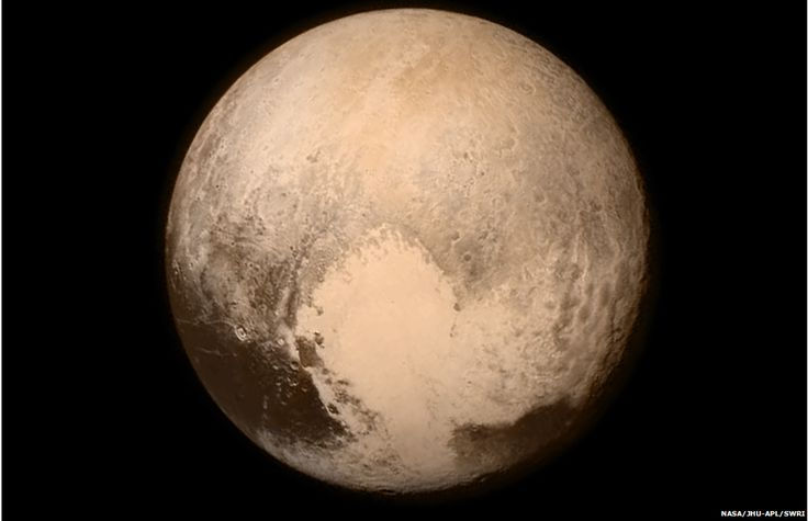 This image of Pluto was taken on Tuesday and was downlinked just before the flyby. Can you see the heart? :)