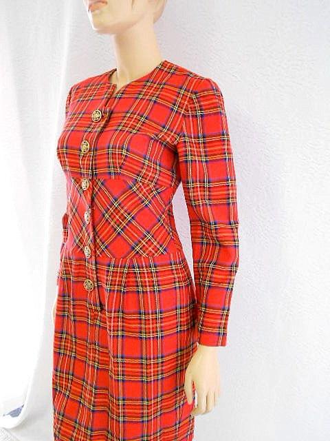 80s Plaid Dress/ Red Tartan Plaid Dress/ Vintage Career Dress/ Size Medium