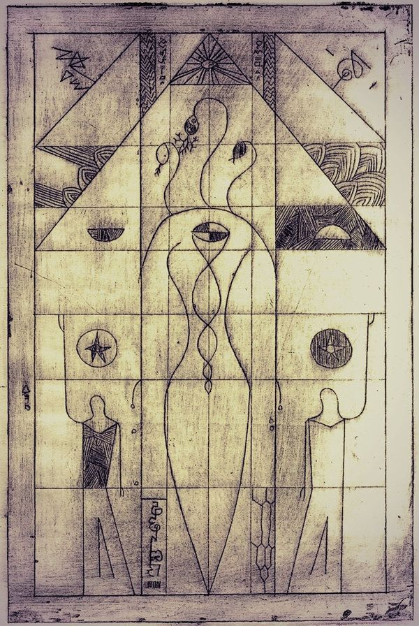 Filip Aura Mensl (2014) Dakr Mother (Isis, Ishtar, Inanna) drypoint, in Golden ratio