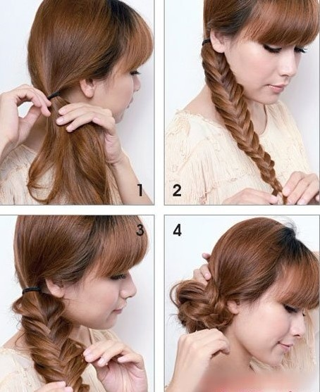 Cute, here's how:   Step1 will all side hair comb, in the right ear root below, with hair circle pierced the low side.In order to make the hair more modelling feeling, can use roll great hair end do big volume modelling.    Step2 horsetail plait of close the scorpions, note at three plait, every time the reclamation and edge strands of reclamation and edge only a small part of the hair.This looks more close delicate.    Step3 use both hands will three plait pull loose, make more obvious…