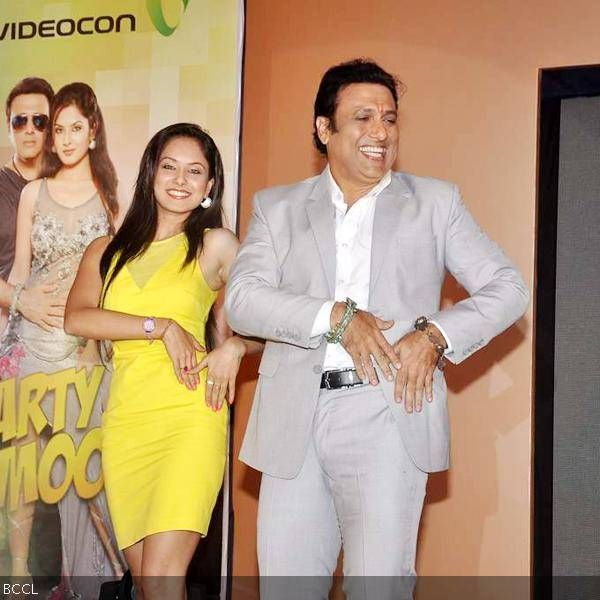 Govinda with newbie Pooja Bose at the launch of his music album Gori Tere Naina, held at Sea Princess, in Mumbai.