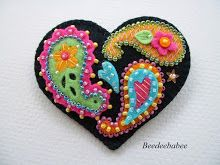 bright paisley heart pin