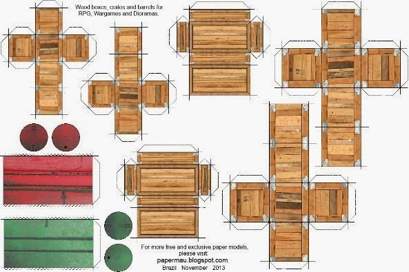 Papermau: Wood Boxes, Crates And Barrels Paper Models For RPG And Wargames - by Papermau - Download Now!