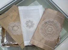 Coffee tray cloths all handmade lace, silk and linen...