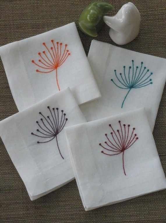Queen Ann Flower Embroidery Cocktail Napkin Set of 8 by KainKain