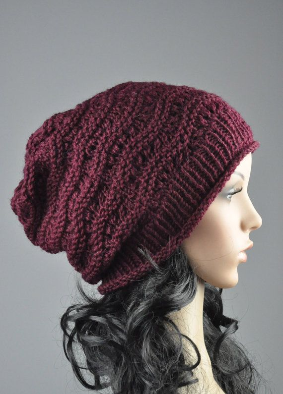 10 off Hand knit hat  Burgundy Chunky Hat weaving by MaxMelody, $32.00