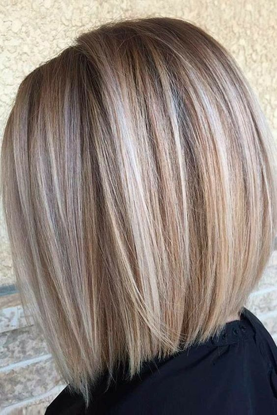 Blonde bob with beige and ask highlights throughout. Love this!!
