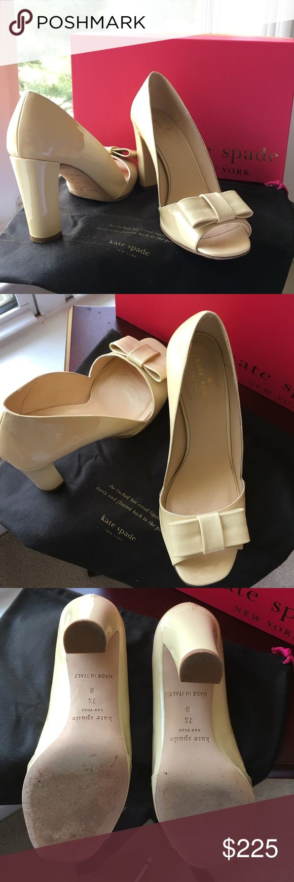 Kate Spade Cream Pumps Cream patent leather pumps with bow. Worn only once... I met my husband wearing these shoes and danced with him for hours!! ❤️ comes with dust bag and box. kate spade Shoes Heels