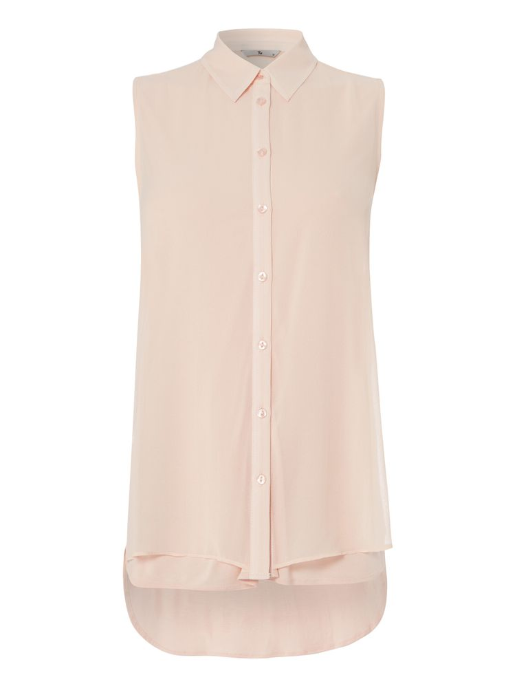 """With its layered design and sleeveless finish, this shirt will take you seamlessly from day to night. Perfect teamed with slim fit trousers and skirts, this shirt has button fastenings with a covered placket.<br /><ul><li>Pink layered sleeveless crepe shirt</li><li>Sleeveless</li><li>Button fastening</li><li>Layered design</li><li>Model's height is 5'11""""</li><li>Model wears a size 12</li></ul>"""