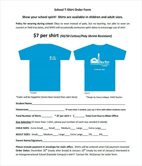 School T Shirt Order Form Template Free Download Screen Printing