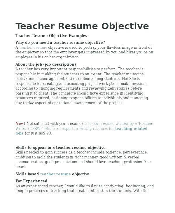 Format For Teacher Resume Teacher Resume Objective Samples Yoga