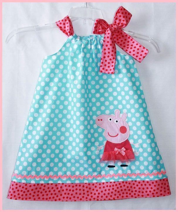 Peppa Pig dress Aqua dot and Hot pink