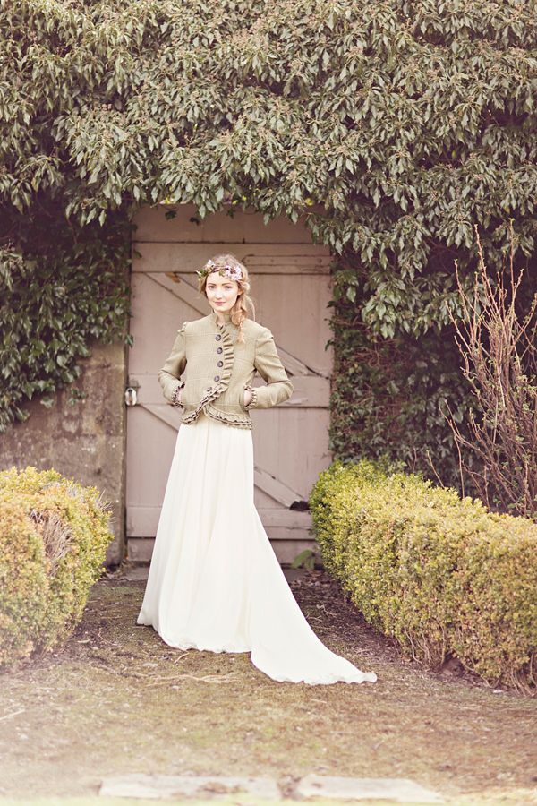 A bride in a tweed country jacket.  http://www.glassjarphotography.com/