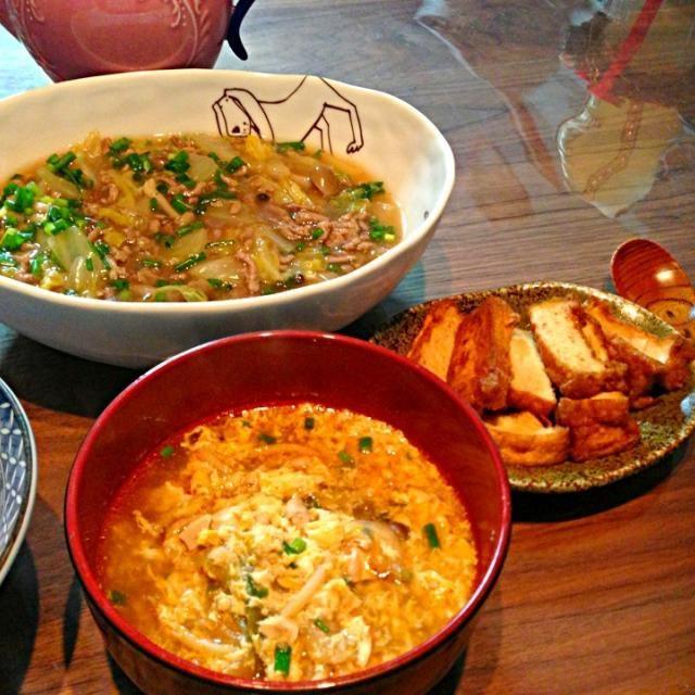 美味しくてごはんいっぱい食べました♪ レシピID:2000254 - 8件のもぐもぐ - 白菜とひき肉のあんかけごはん、キムチ卵スープ、厚揚げ甘辛炒め by ちび
