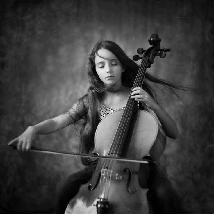 Black and white photography musical girl play cello ...