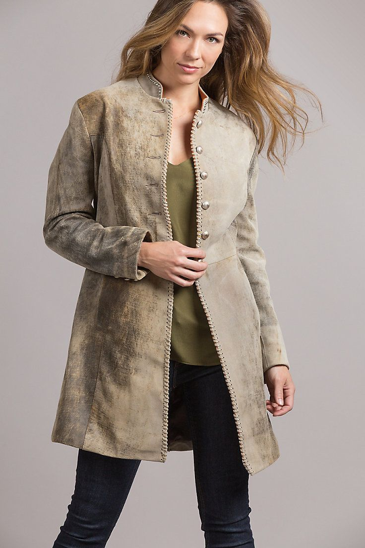 Made in the USA. Meet the Zena Frock Leather Coat in distressed hues of New Zealand lambskin leather and a feminine design that hints of vintage military.