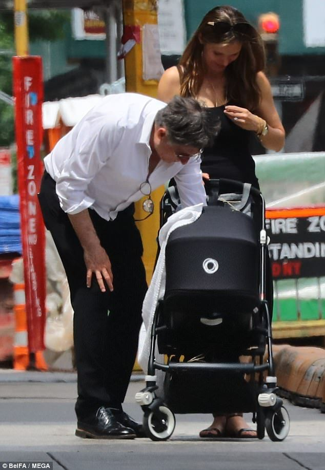 Gabriel Byrne and Hannah Beth King out with their newborn   Daily Mail Online