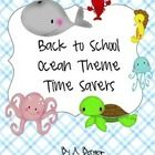 This is a handy kit of Ocean Themed Back to school resources that include name tags, desk labels, Portfolio covers, class forms, bus tags and more....