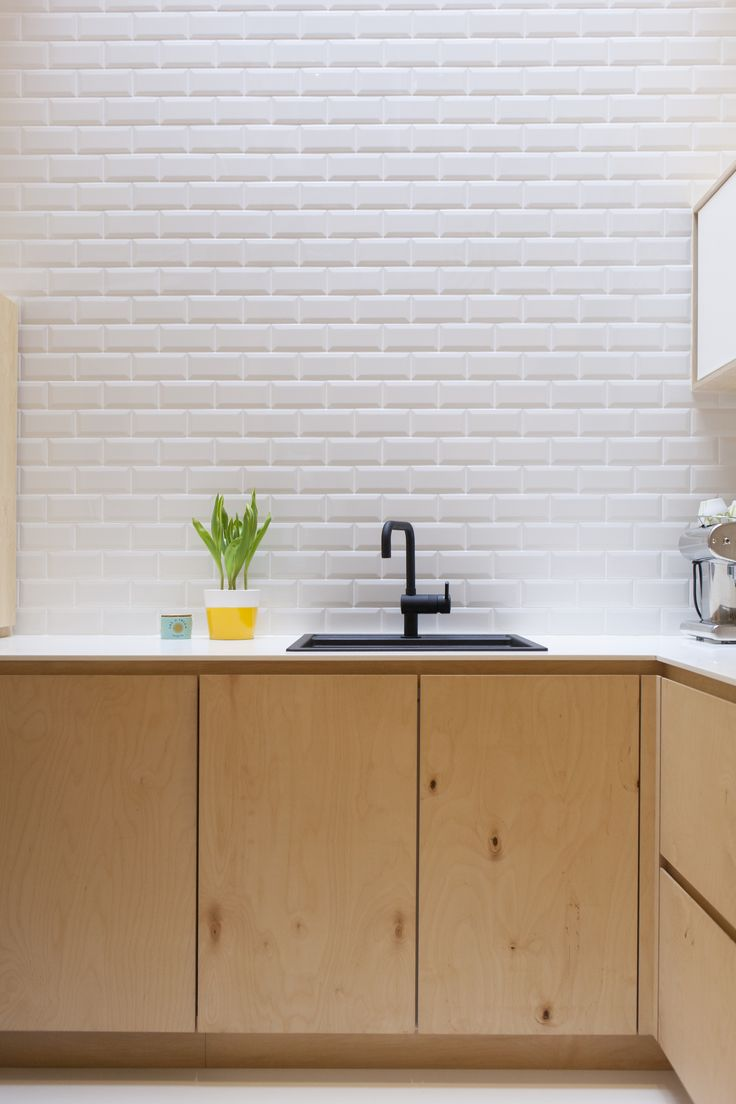 Plywood And White Bricks ; Simple And Design Kitchen