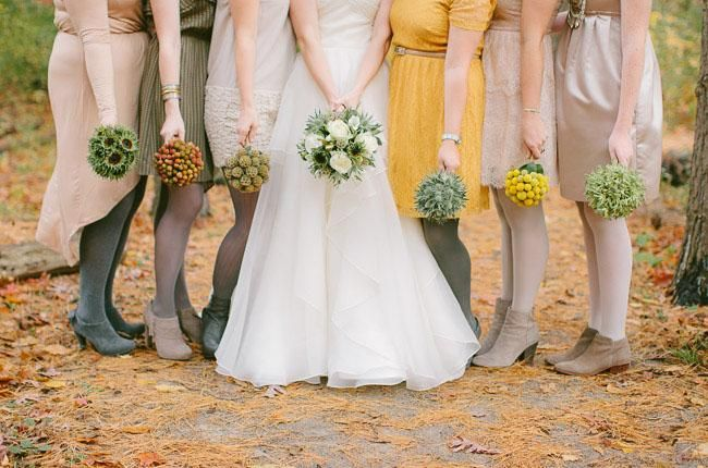 short bridesmaid dresses with fall tights and booties! (minus the tights)
