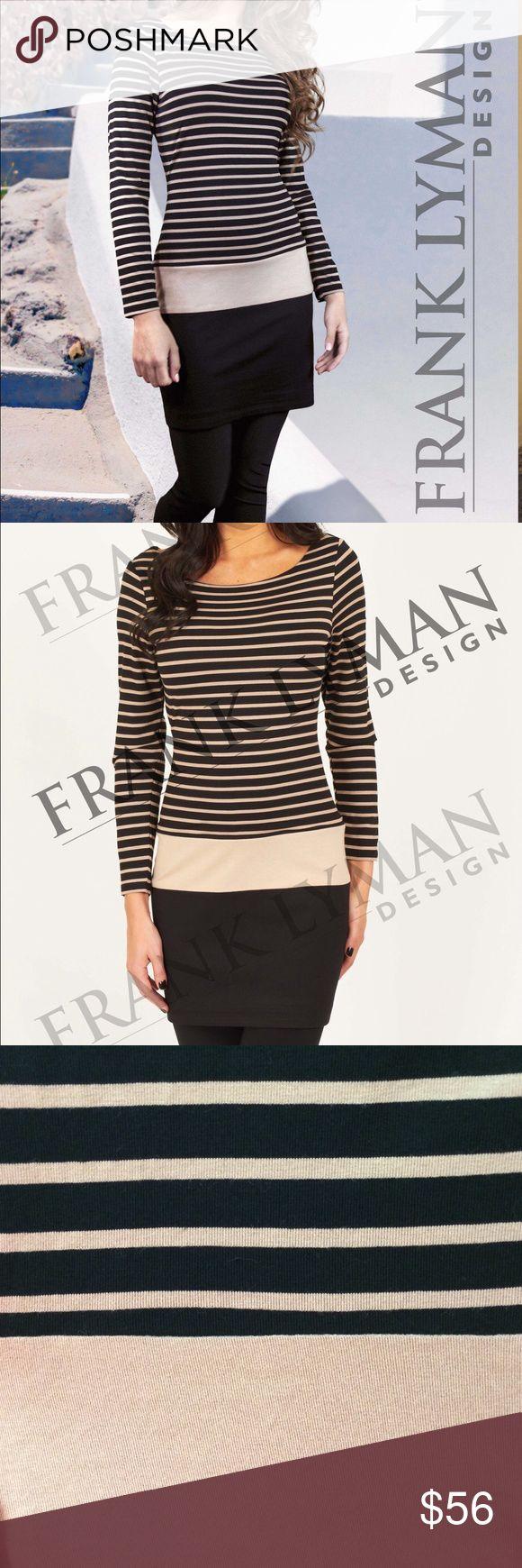 💄Frank Lyman Black/Tan Tunic/Dress 💕Striped Frank Lyman Tunic/Dress fully lined! Frank Lyman Tops Tunics