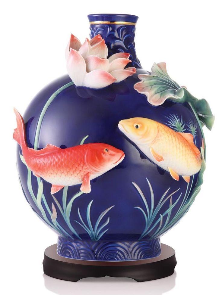 FZ03195 Franz porcelain Lasting blessing carp design large vase Limited edition