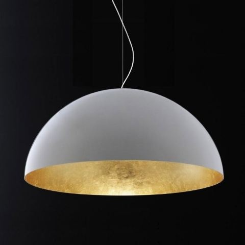 Oluce Sonora 490 Gold Hanging Lamp by Vico Magistretti