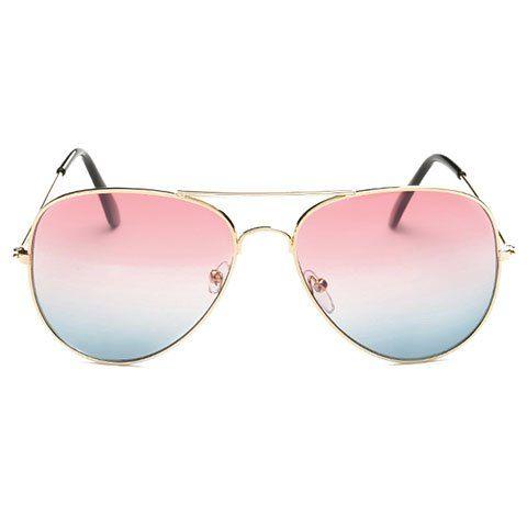 Chic Gradual Color Lenses Metal Frame Women's Sunglasses - PINK