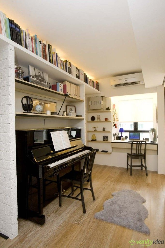 piano and book selves decor