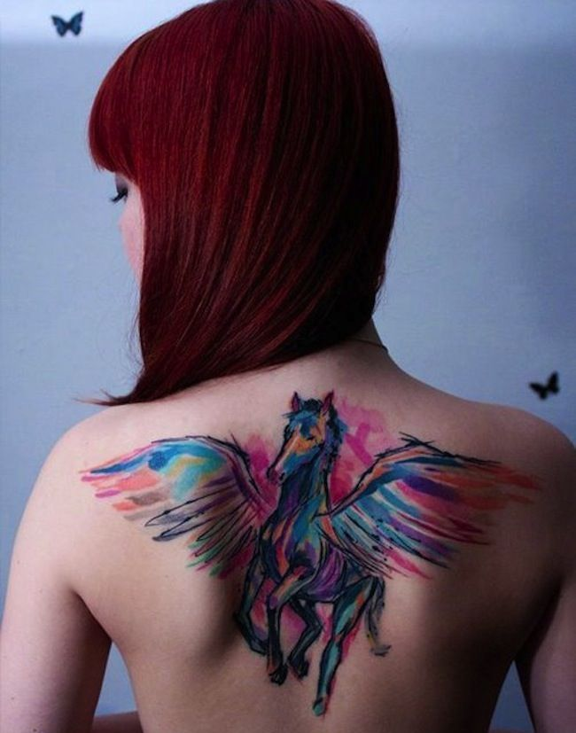 Watercolour Back Tattoo Designs for Girls