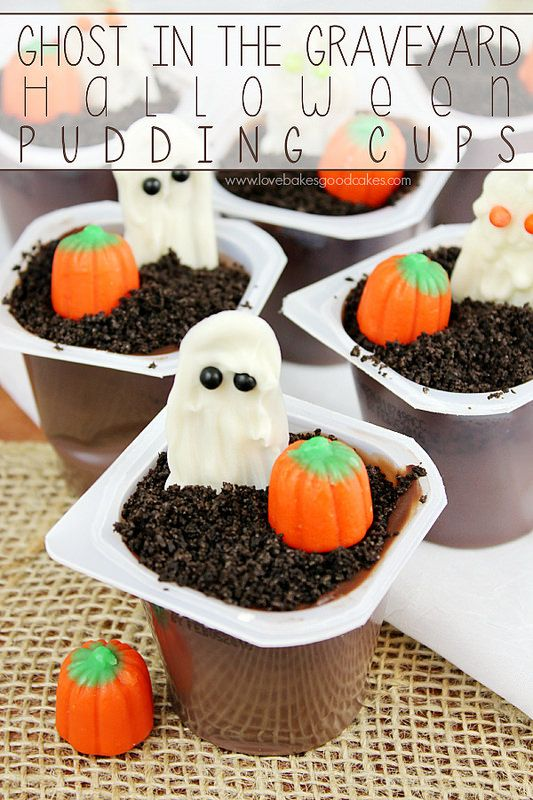 Ghost in the Graveyard Halloween Pudding Cups