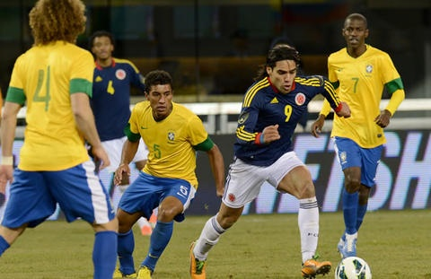 Radamel Falcao contra Brazil en partido de preparación para las eliminatorias al mundial 2014 disputado en Estados Unidos con resultado 1-1.