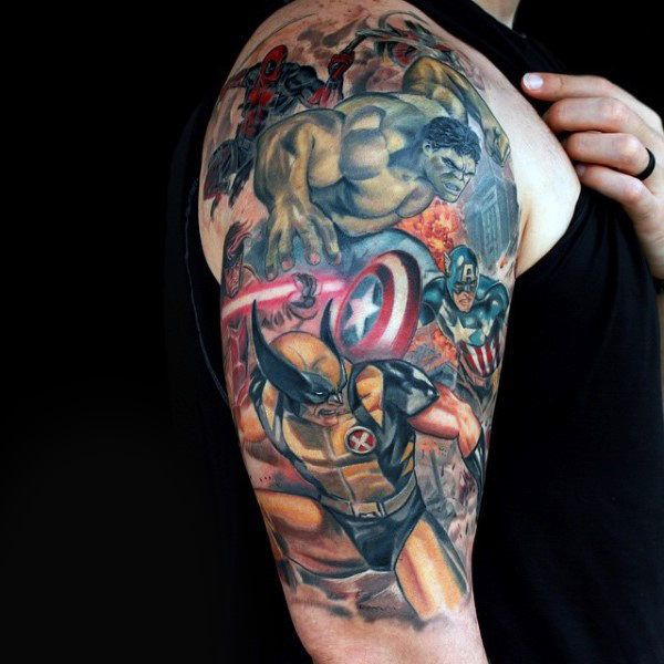 Male With Marvel Superheros Captain America Half Sleeve Tattoo