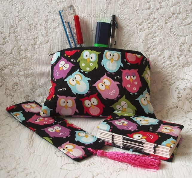 Owls gift set, bookmark, note book and pencil case £12.75
