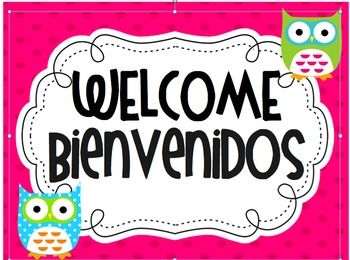 Owl Theme Spanish Welcome Sign Classroom Ideas Welcome