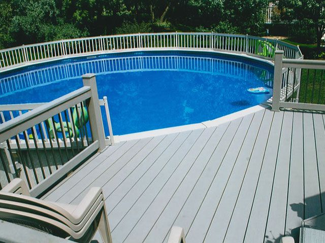 round above ground composite pool with decks railing - Above Ground Composite Pool Deck