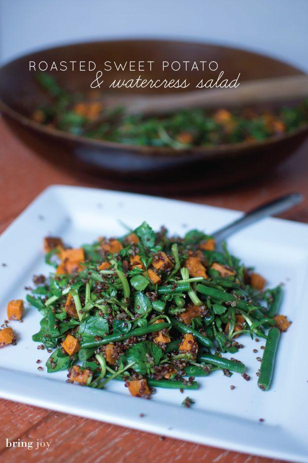 roasted sweet potato, quinoa, & watercress salad