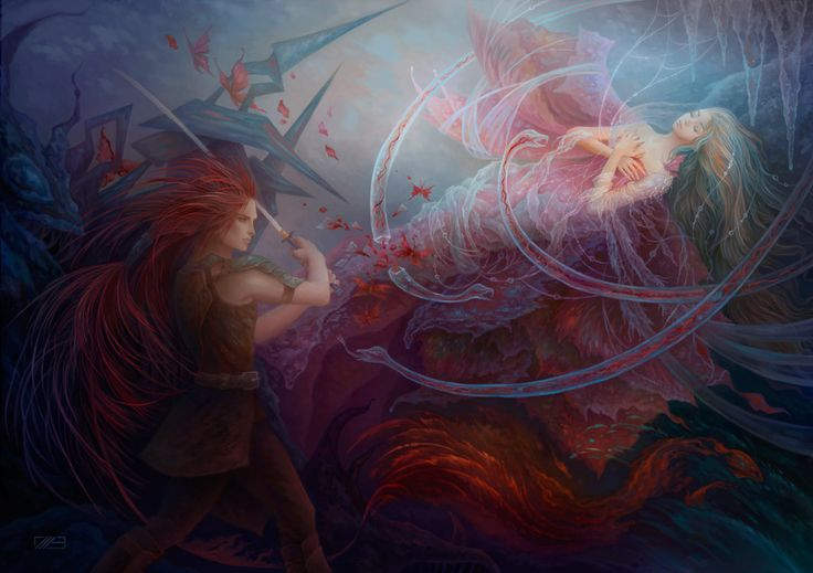 "illustration ""AWAKENING"" for «Sleeping Beauty» by Charles Perrault. Created for the international art collective SlashTHREE: www.slashthree.com #man #awaken #awakening #bloody #blue #broken #couple #darkness #death #character #cg #drama #dramatic #dramatical #enchanted #fairytail #fantasy #female #illustration #love #lovers #lovewins #magic #magical #male #night #nightmare #digital #romance #romantic #salvation #snake #sword #artwork #painting #art #warrior #woman #surreal #tangle"