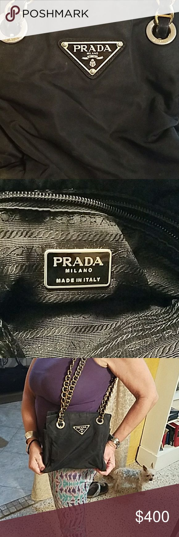 Prada purse Vintage, Black purse with gold chain. Purchased new for 1,200. Prada Bags