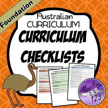 FREE Foundation Australian Curriculum Checklists