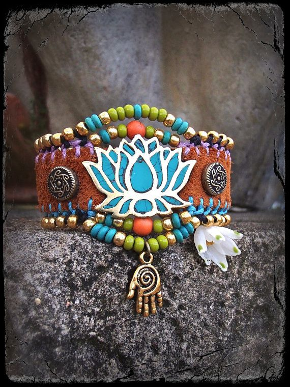 Turquoise LOTUS CUFF leather BRACELET Gold cuff Western beaded Cuff Bracelet gypsy Hippie Cowgirl bracelet Gold Healing Hand via Etsy
