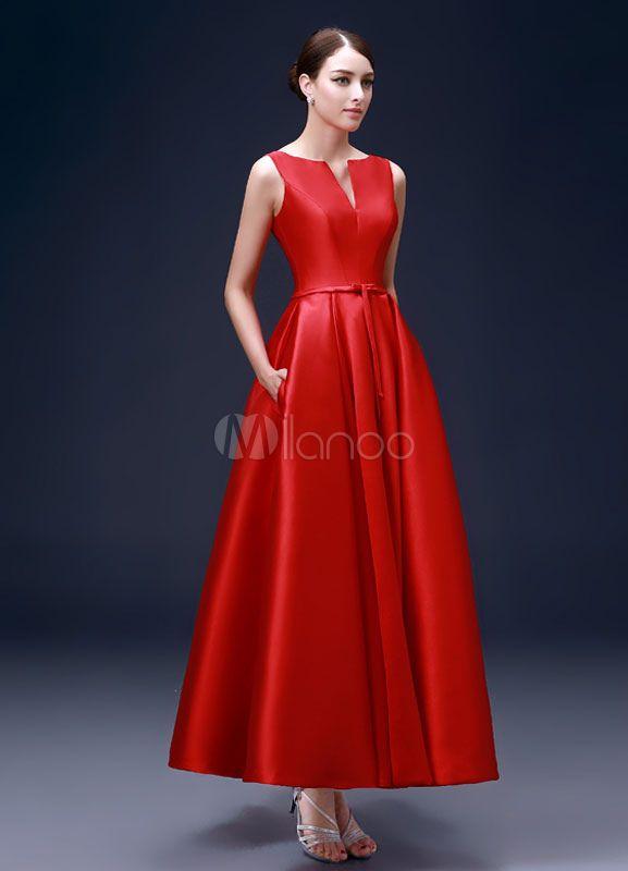 Vestido de noche Tela Satén rojo sin mangas Escote con fisura con faja -No.3