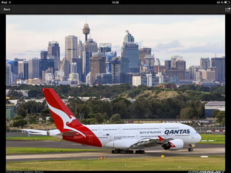 A Qantas A380-800 on the runway at Sydney airport international.