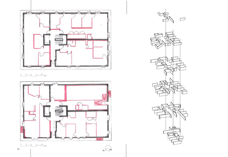 These plans and diagrams have been used to show the configuration of the floor plans. These are quite complicated to understand from just looking at them. If they were colour coded they might be easier to interpret.