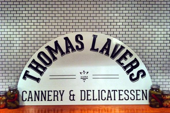 Thomas Lavers Cannery & Delicatessen at 193 Baldwin St. in Kensington Market - handmade, canned, cured, pickled and brined food and sundries.  http://www.thestar.com/living/food/article/1316059--gourmet-sandwiches-to-cure-the-lunchtime-dilemma